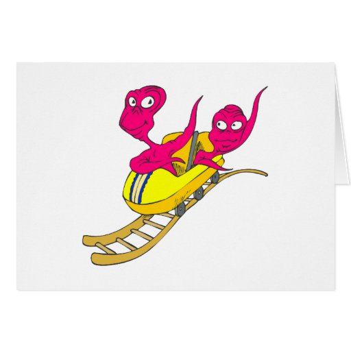 2 Aliens on a coaster Stationery Note Card