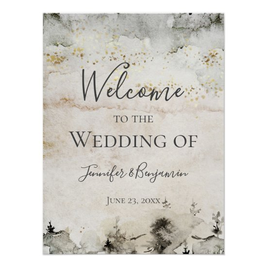 #2 Alpine Mountain Welcome to Our Wedding   Poster