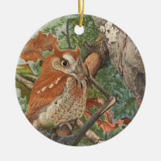 2 angry vintage owls in a tree ceramic ornament