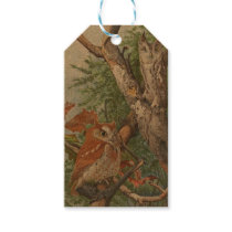 2 angry vintage owls in a tree gift tags