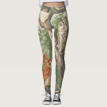2 angry vintage owls in a tree leggings
