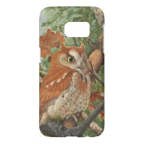 2 angry vintage owls in a tree samsung galaxy s7 case