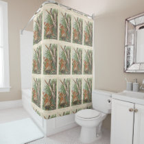 2 angry vintage owls in a tree shower curtain