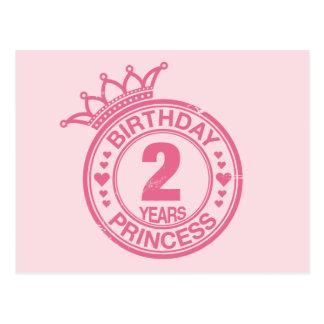 2 años - princesa del cumpleaños - rosa tarjeta postal