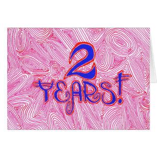 2 años tarjeta de cumpleaños/del aniversario de la