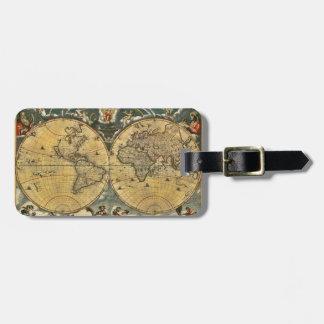 #2 apenado mapa del mundo antiguo etiqueta para equipaje