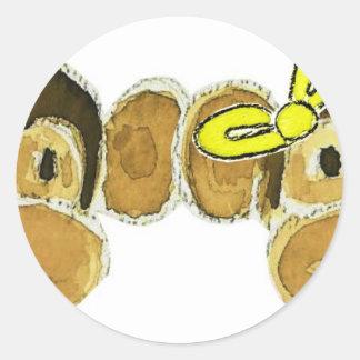 2 arcos del amarillo de las cabezas del mono pegatina redonda