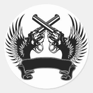 2 ARMAS SUBEN PERSONALIZABLE PEGATINA REDONDA