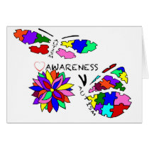 2 Autism Awareness Butterflies with flower