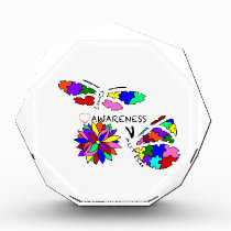 2 Autism Awareness Butterflies with flower Acrylic Award