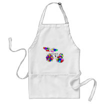 2 Autism Awareness Butterflies with flower Adult Apron