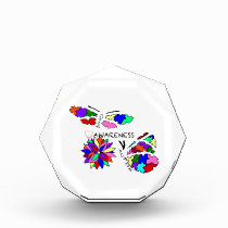 2 Autism Awareness Butterflies with flower Award