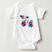 2 Autism Awareness Butterflies with flower Baby Bodysuit