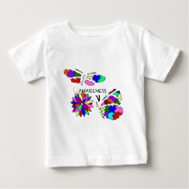2 Autism Awareness Butterflies with flower Baby T-Shirt