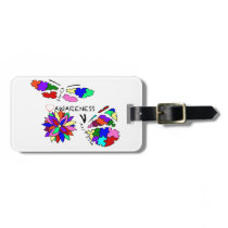 2 Autism Awareness Butterflies with flower Bag Tag