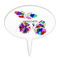 2 Autism Awareness Butterflies with flower Cake Topper
