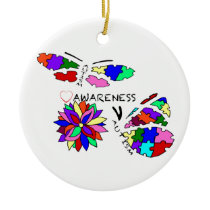2 Autism Awareness Butterflies with flower Ceramic Ornament