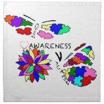 2 Autism Awareness Butterflies with flower Cloth Napkin