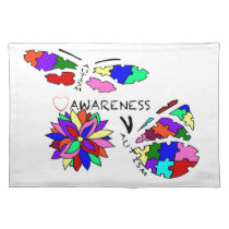 2 Autism Awareness Butterflies with flower Cloth Placemat