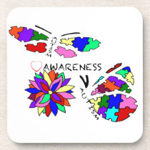2 Autism Awareness Butterflies with flower Drink Coaster