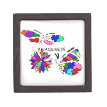 2 Autism Awareness Butterflies with flower Jewelry Box