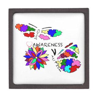 2 Autism Awareness Butterflies with flower Keepsake Box