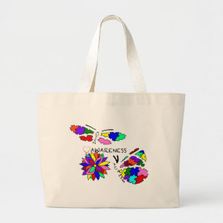 2 Autism Awareness Butterflies with flower Large Tote Bag