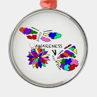 2 Autism Awareness Butterflies with flower Metal Ornament