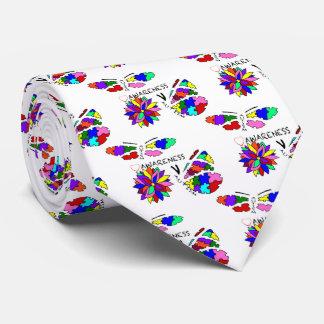 2 Autism Awareness Butterflies with flower Neck Tie