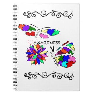 2 Autism Awareness Butterflies with flower Notebook