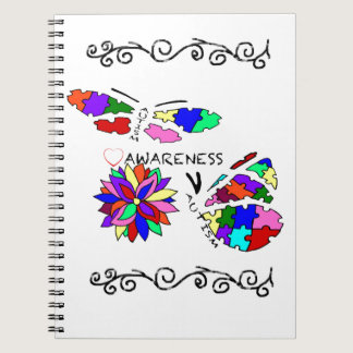 2 Autism Awareness Butterflies with flower Notebook