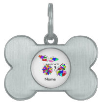 2 Autism Awareness Butterflies with flower Pet Name Tag
