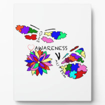 2 Autism Awareness Butterflies with flower Plaque