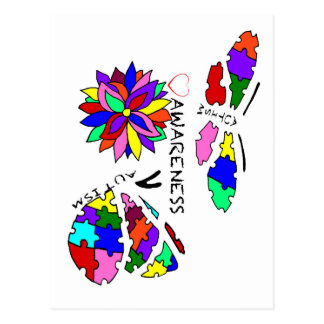 2 Autism Awareness Butterflies with flower Postcard