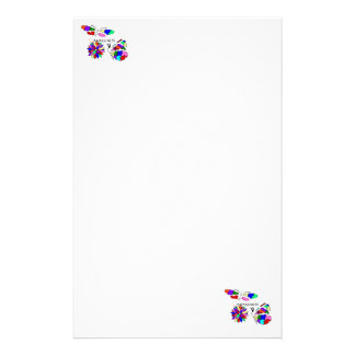 2 Autism Awareness Butterflies with flower Stationery
