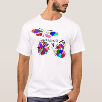 2 Autism Awareness Butterflies with flower T-Shirt