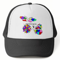 2 Autism Awareness Butterflies with flower Trucker Hat