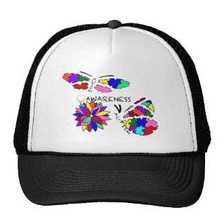 2 Autism Awareness Butterflies with flower Trucker Hat