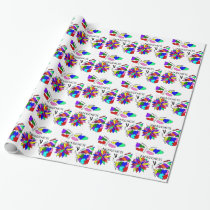 2 Autism Awareness Butterflies with flower Wrapping Paper