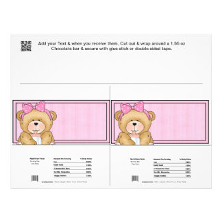 "2 Baby Bear Shower Candy Bar Wrappers Party Favors 8.5"" X 11"" Flyer"