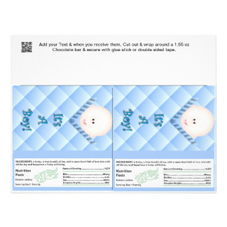 "2 Baby Boy Shower Candy Bar Wrappers Party Favors 8.5"" X 11"" Flyer"