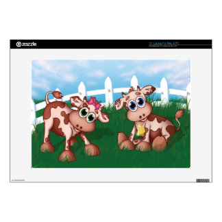 """2 Baby Cows Decal For 15"""" Laptop"""