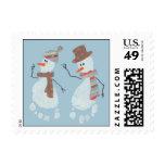 2 Baby Footprint Snowmen postcard stamp