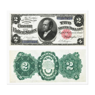 $2 Banknote Silver Certificate Series 1891 Canvas Print