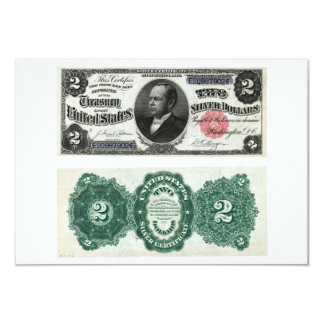 $2 Banknote Silver Certificate Series 1891 3.5x5 Paper Invitation Card