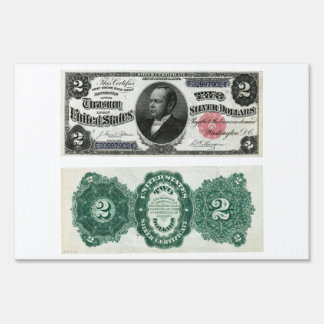 $2 Banknote Silver Certificate Series 1891 Lawn Signs