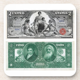 $2 Banknote Silver Certificate Series of 1896 Coaster