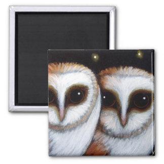 2 BARN OWLS Magnet
