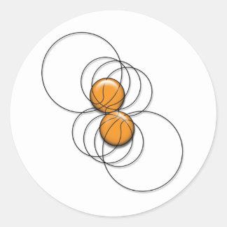2 Basketball Pattern - 3D Classic Round Sticker