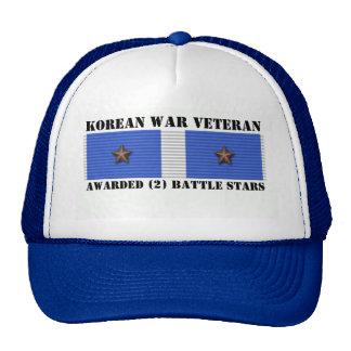 2 BATTLE STARS KOREAN WAR VETERAN TRUCKER HAT